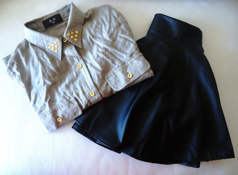 set with olive green shirt with studs and puff skirt