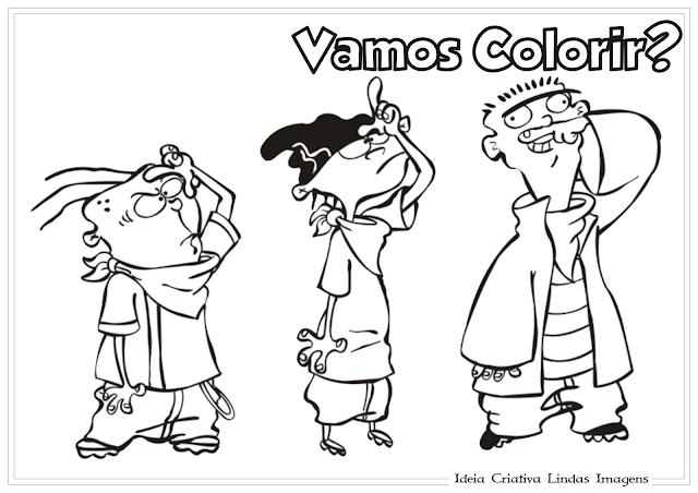 Du, Dudu e Edu desenho para colorir