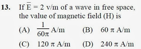 2012 December UGC NET in Electronic Science, Paper II, Questions 13