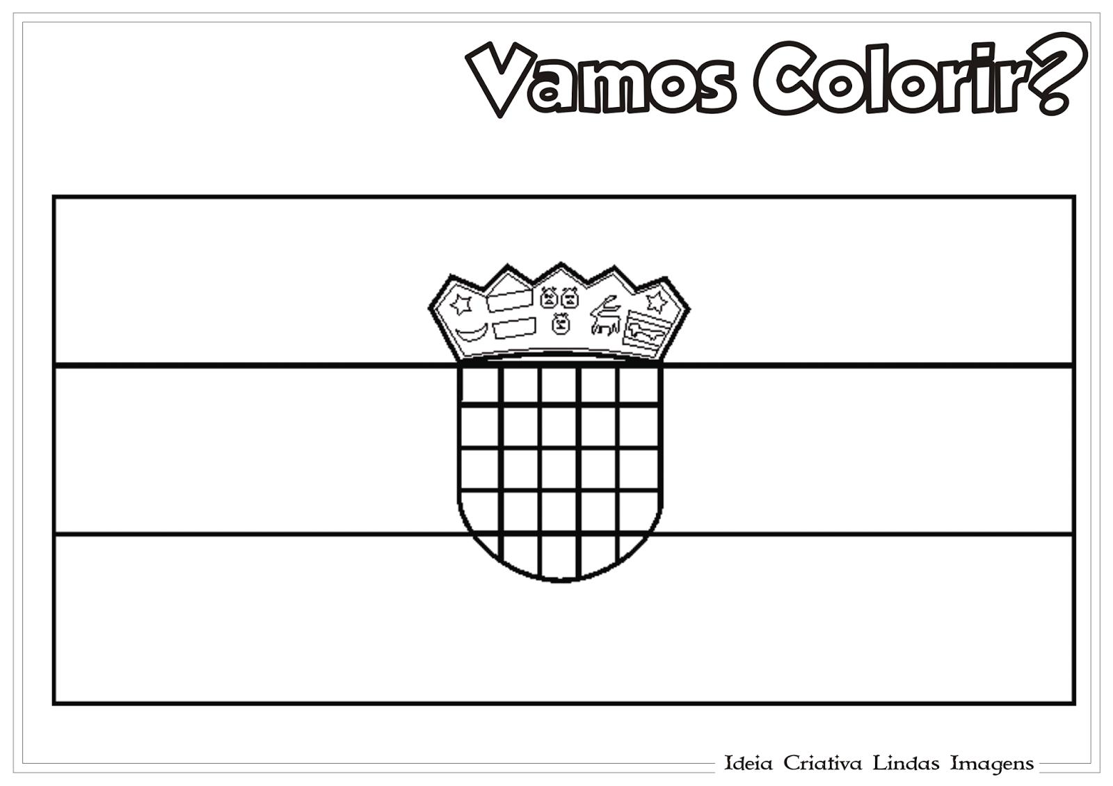 Copa do Mundo 2014 - Grupo A: Croácia bandeira para colorir
