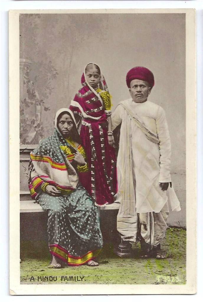 A Hindu Family - Hand Coloured Post Card c1910-20's