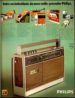 propaganda rádio gravador Philips - 1974. os anos 70; propaganda na década de 70; Brazil in the 70s, história anos 70; Oswaldo Hernandez;