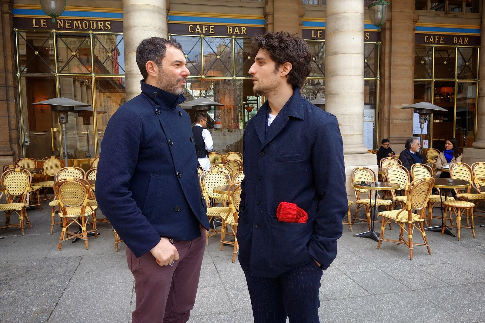 Photo of Louis Garrel & his friend actor  Jose Levy - Paris