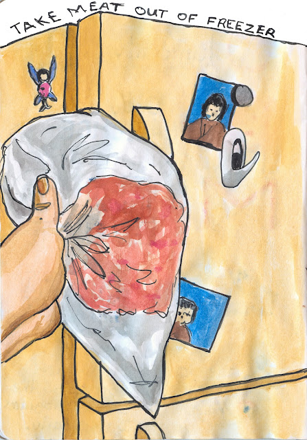Taking meat out of freezer and transferring it to the refrigerator - Watercolour with Ink - by Ana Tirolese ©2012