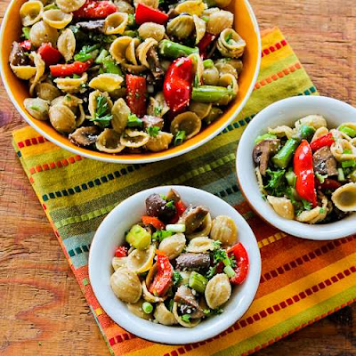 Whole Wheat Orcchiette Pasta Salad with Roasted Asparagus, Red Bell Pepper, and Mushrooms