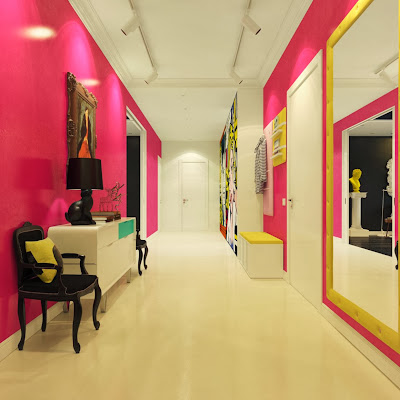 light vibrant hallway with pink wall and attractive cartoon wall print