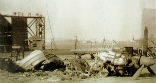 PAF hanger at Dacca airfield after an air  attack by the IAF, Dec 71