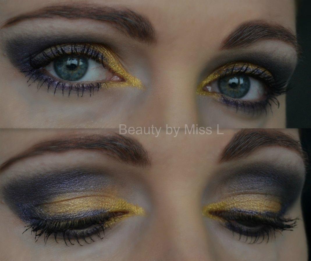 purple & yellow smoky eye