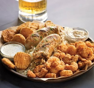 ... fried crawfish and shrimp paired with crunchy fried pickles and a hot
