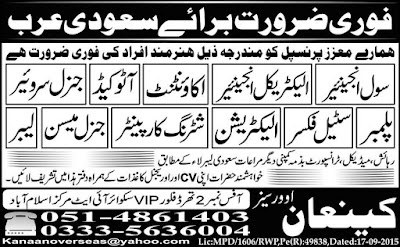 Saudi Arabia Jobs for Engineers & Accountants