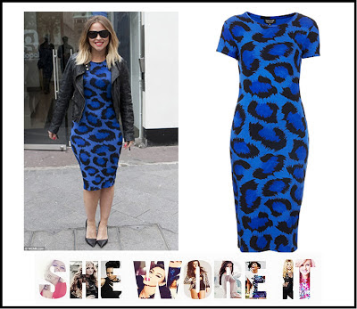 Animal Print, Black, Blue, Bodycon, Bright, Dress, Jersey, Kimberley Walsh, Leopard print, Midi Dress, Print, Topshop,