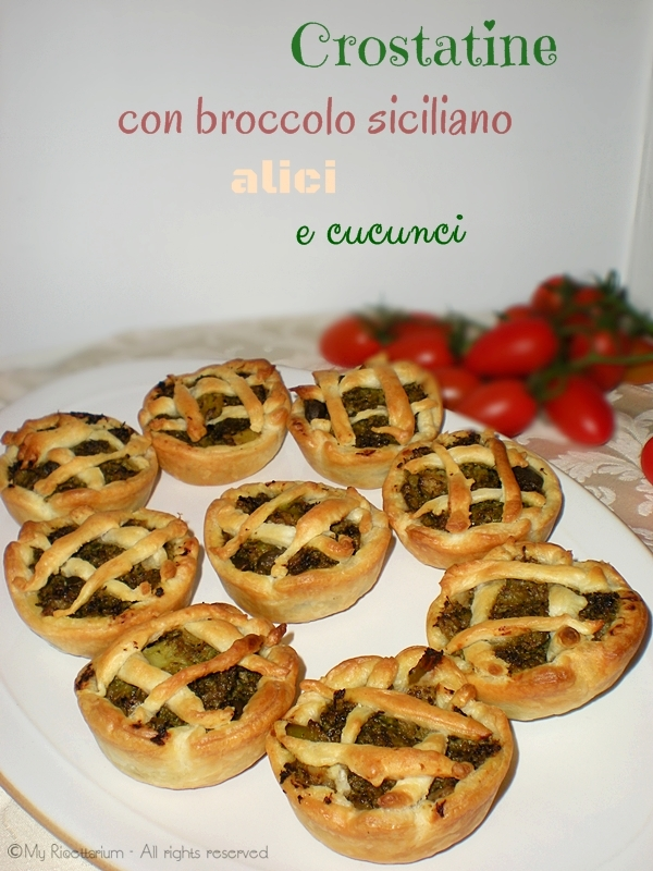 Crostatine con broccolo siciliano, alici e cucunci