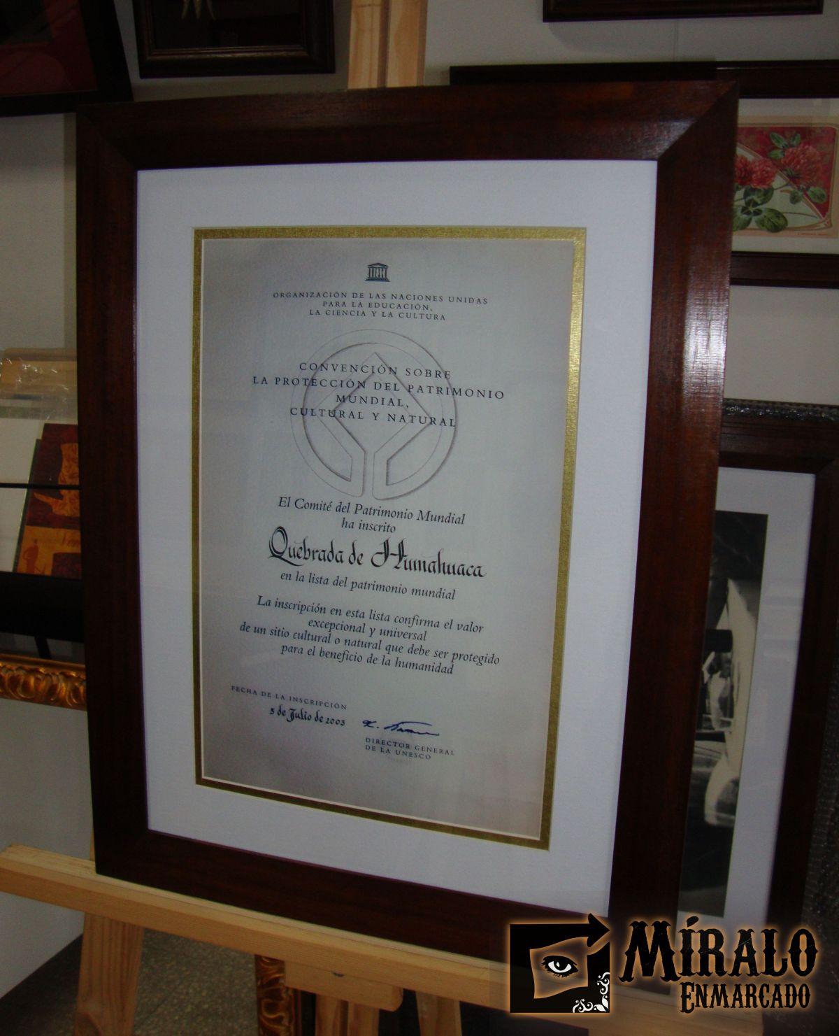 Enmarcado para el Senado de la Nación - Inscripción de la Quebrada ...