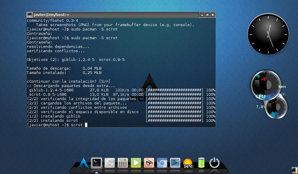 Linux a tu alcance  Arch Linux LXDE con Cairo Dock usando AUR