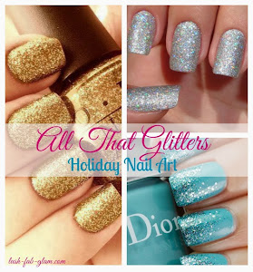Add the sparkle of the festive holiday season to your nail art design.