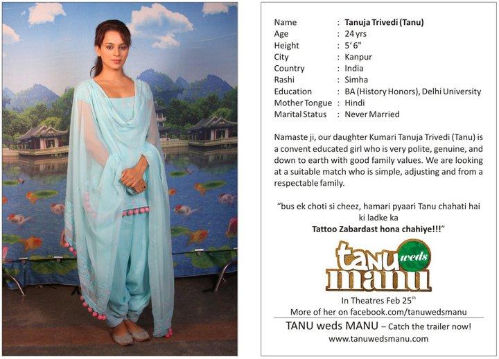 Bollywood Releases Tanu Weds Manu