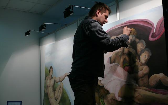 Malowanie kopi obrazu olejnego, obraz na płótnie przedstawiający Stworzenie Adama