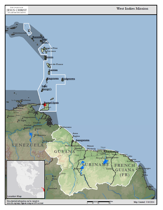 Map of West Indies Mission