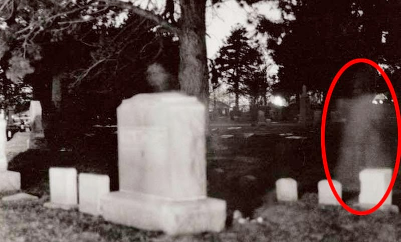 ghost images at cemetary