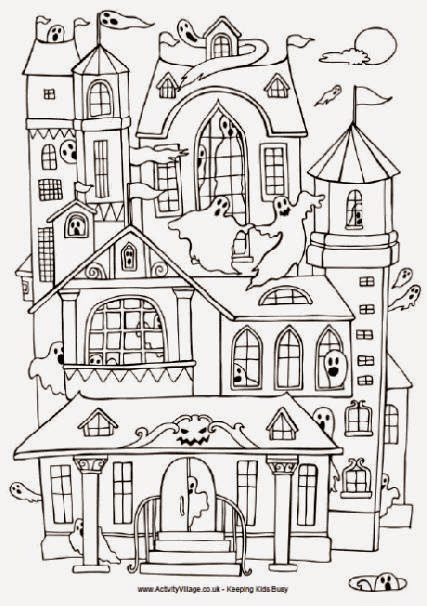 Free printable coloring pages of haunted houses for Haunted house coloring pages printables