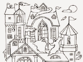 Spooky Haunted House Coloring Page