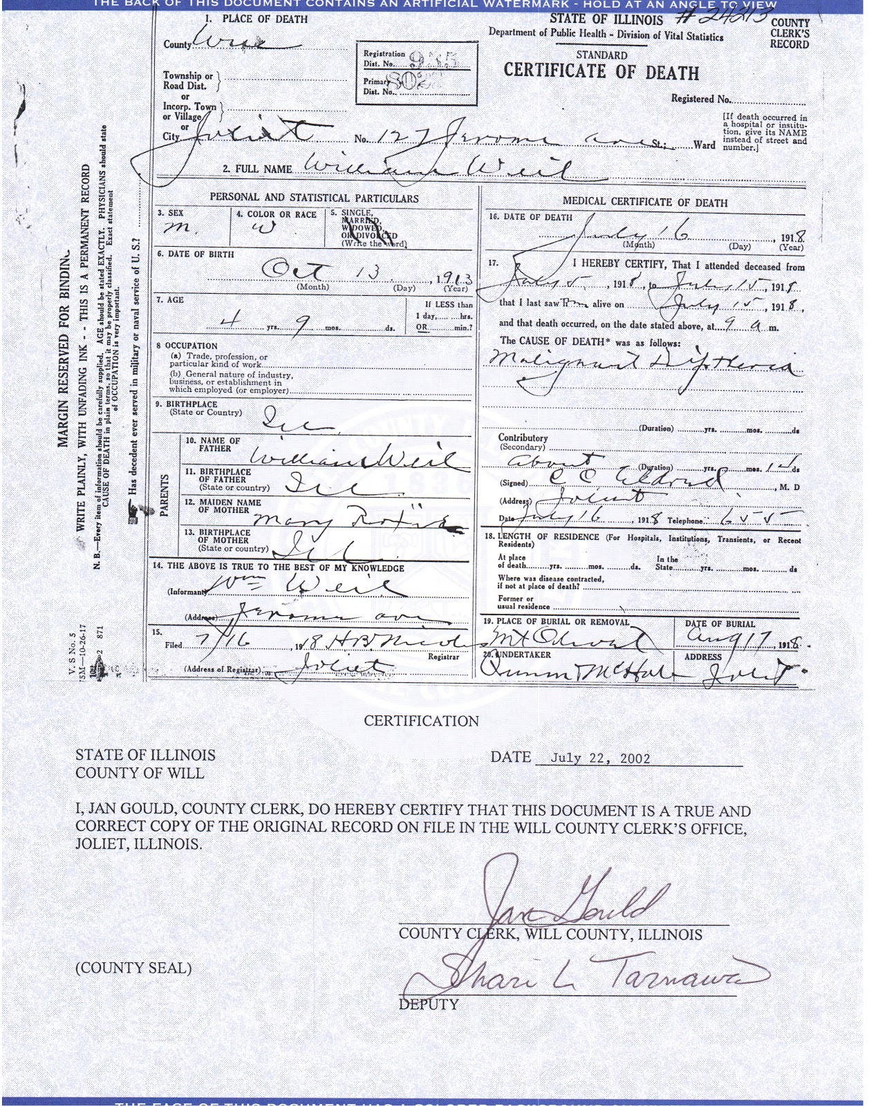 Joliet genealogy illinois death certificates 1877 1916 death certificate filed in will county illinois 17 july 1918 xflitez Choice Image