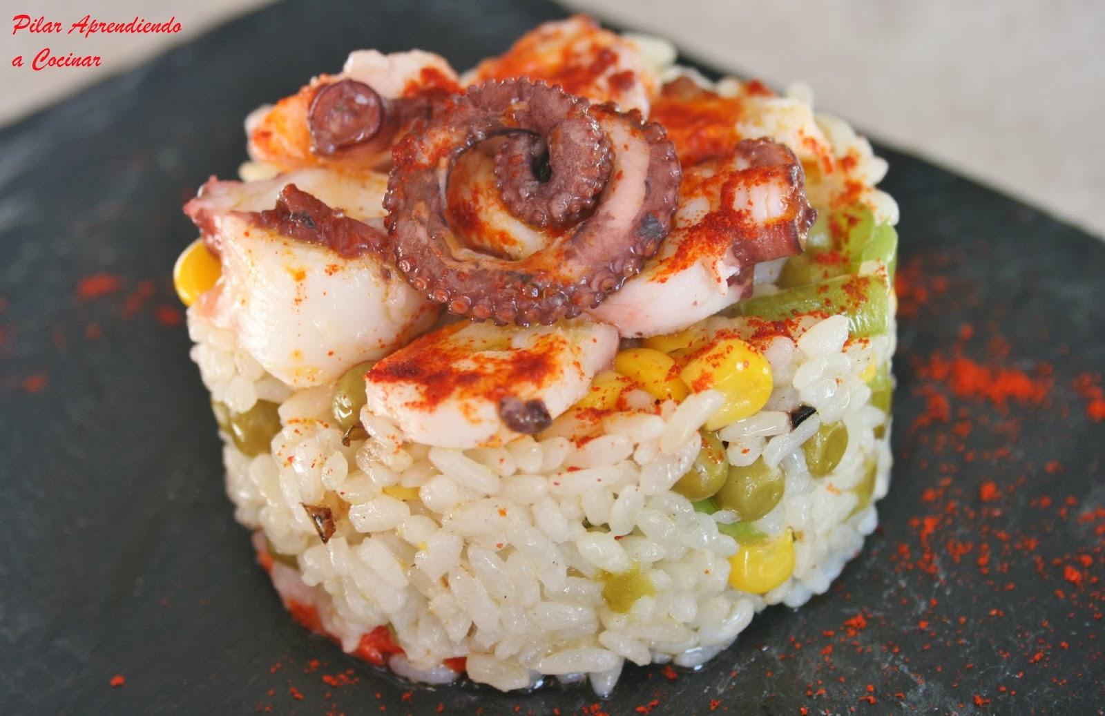 Aprendiendo a cocinar ensalada templada de arroz con for Cocinar pulpo