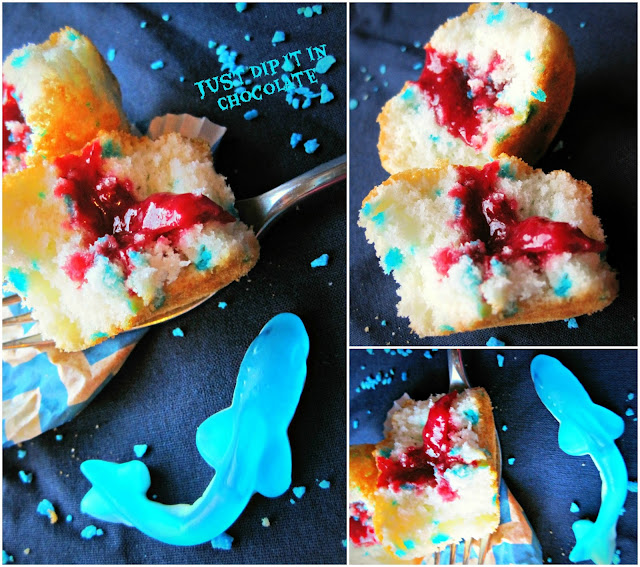 """Shark Week """"Sharknado"""" Cupcakes recipe...this cupcakes are the perfect Trick and Treat for Halloween...a gush of Very Berry Blood with each Sharky Bite! No artificial coloring on this blood, just pure fruit goodness!"""