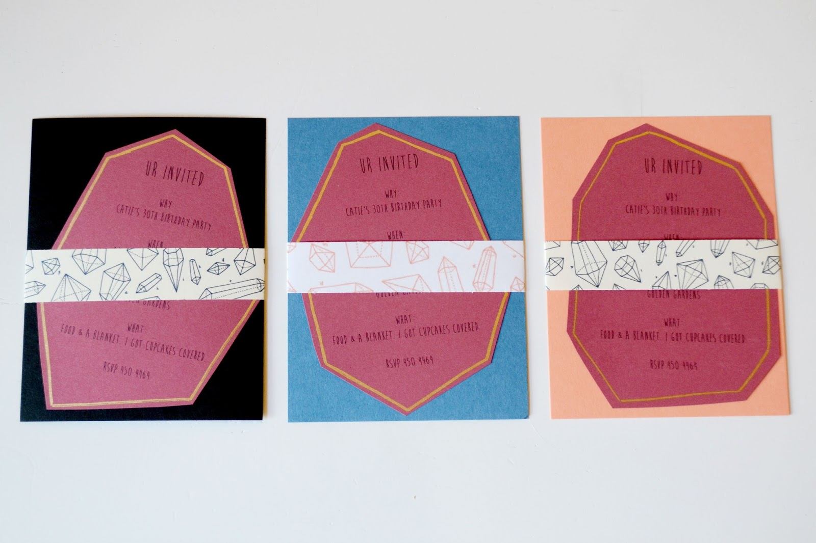 gold, coral, envelope, invitation, gems, crystals, paper source