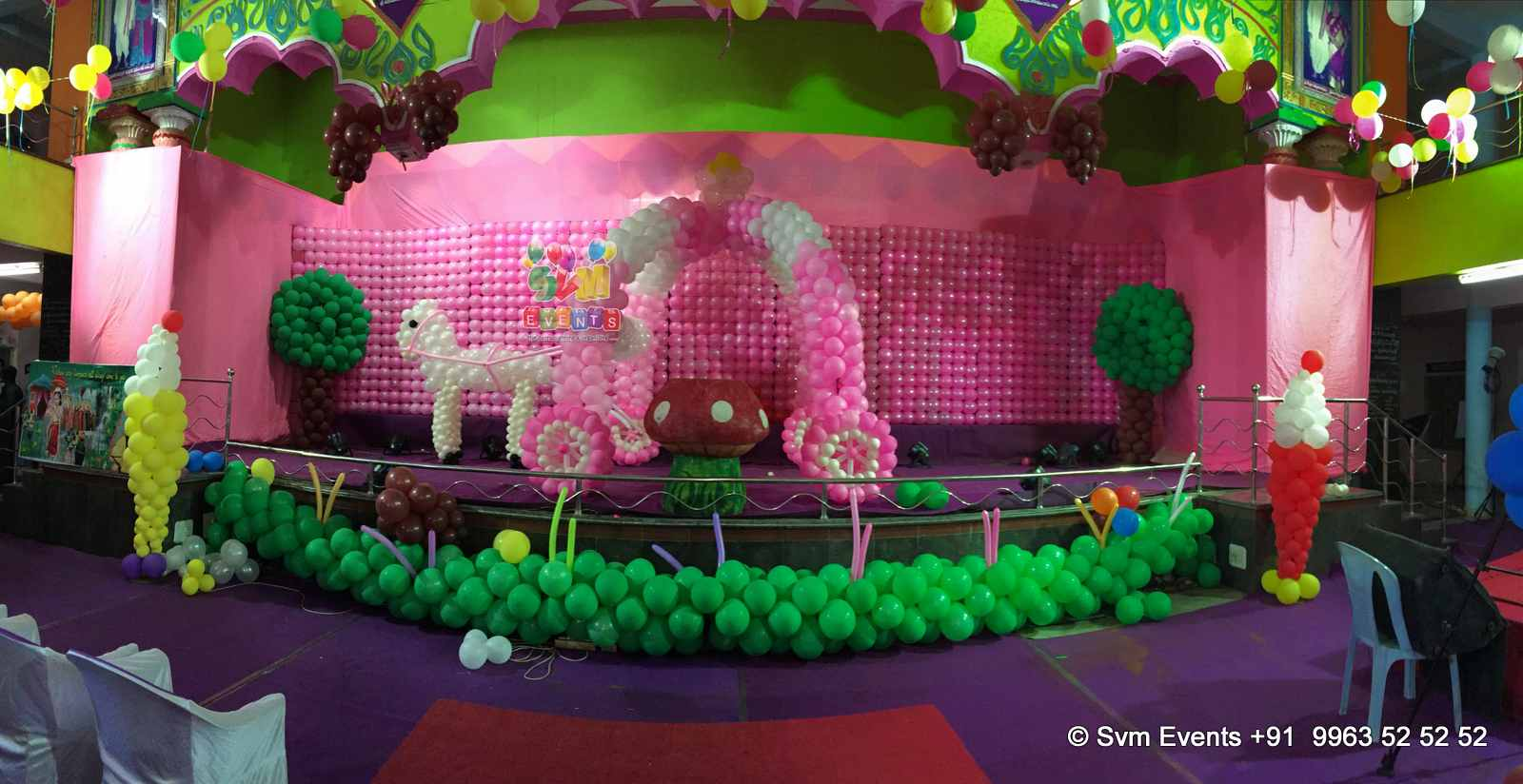 Svm events chariot theme for kids 1st birthday party and for Balloon decoration for 1st birthday