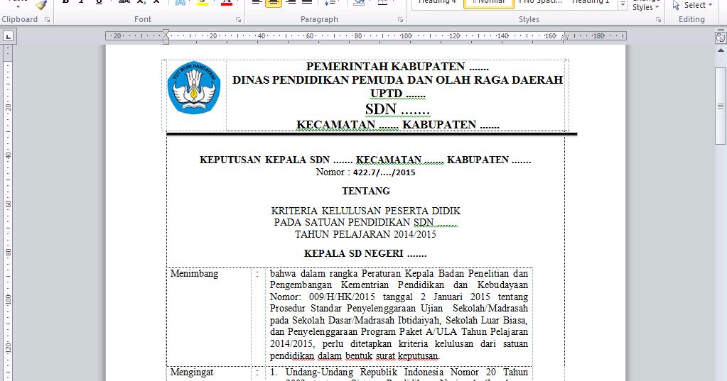 Download Kumpulan Format Administrasi Kelulusan Sd Mi 2015