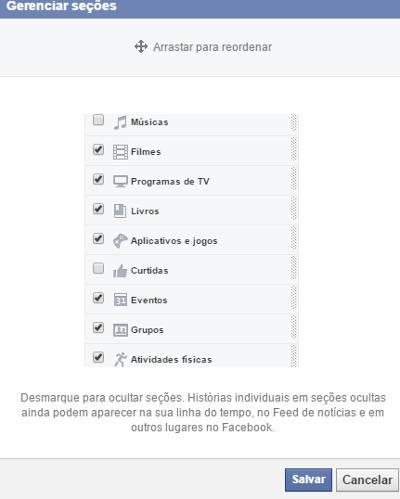 secções do facebook