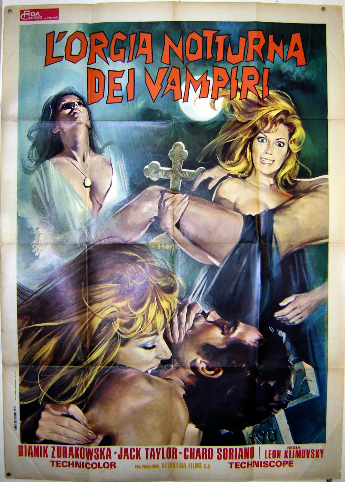 Italian Film Poster The Vampire's Night Orgy, three images of the beauty Helga Line feasting on the blood of men.