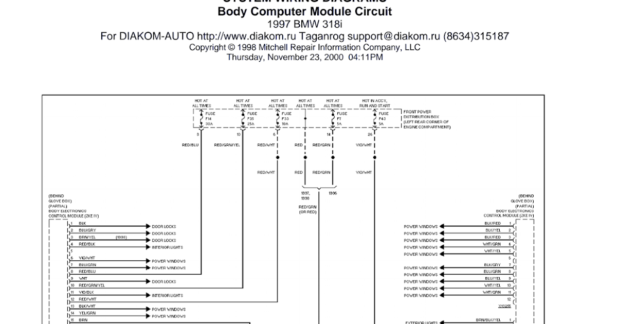 Wiring Diagrams And Free Manual Ebooks  1997 Bmw 318i Body