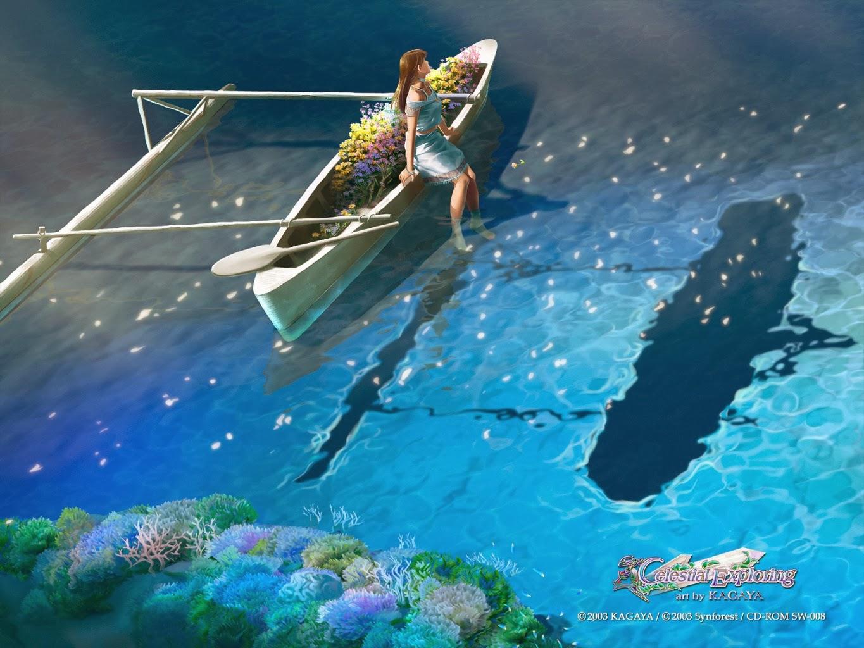 Kagaya Yutaka • Fondo de Pantalla • chica , reflejo, agua