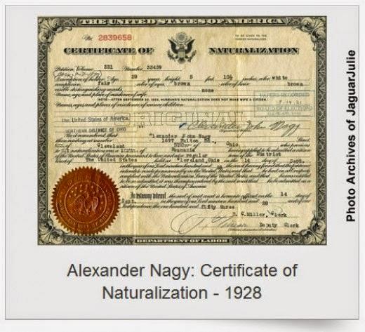 alexander nagy Certificate of Naturalization September 14, 1928