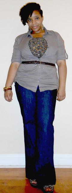 Belted Shirt & Flare Jeans | Aubergine Dreamz | tamzlavender.blogspot.com | tiered blouse