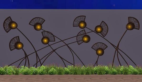 adornos en hierro para jardines - diseño jardines de lujo - campo de amapolas luces 2