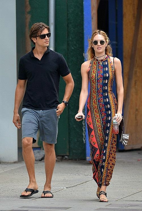 The South African beauty and her boyfriend, Hermann Nicoli were snapped to enjoyed their walking moment in New York, USA on Thursday, July 31, 2014.