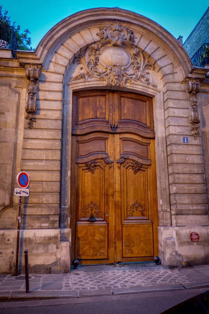 Paris France large carved wood door