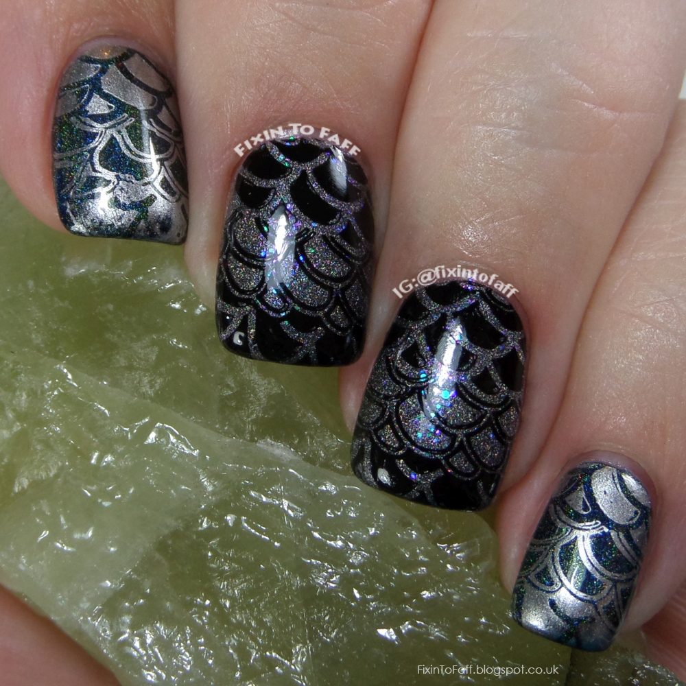 Holographic dragon scale stamped nail art for the 31 day challenge prompt Holo.