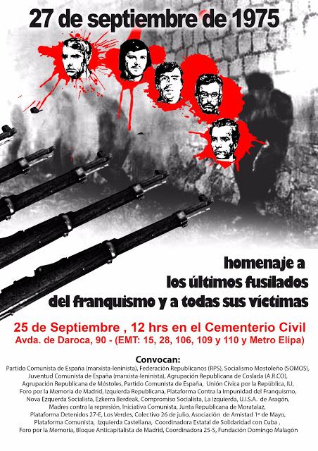 25 Septiembre Homenaje a los últimos fusilados y a todas las victimas del fascismo
