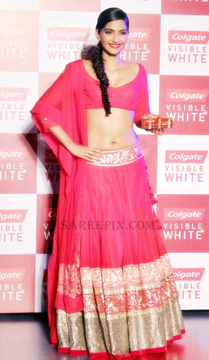 Sonam kapoor in lehenga at Colgate visible white tooth paste launch