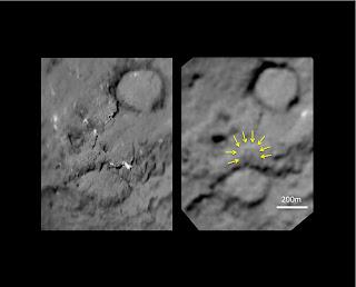 Dos imágenes que comparan el 'antes' y 'después' de que Tempel 1 fuera impactado por un proyectil de Deep Impact en 2005