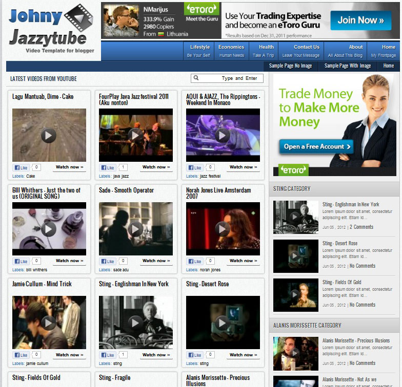 Video Blogger Templates Youtube Video Blogger Templates