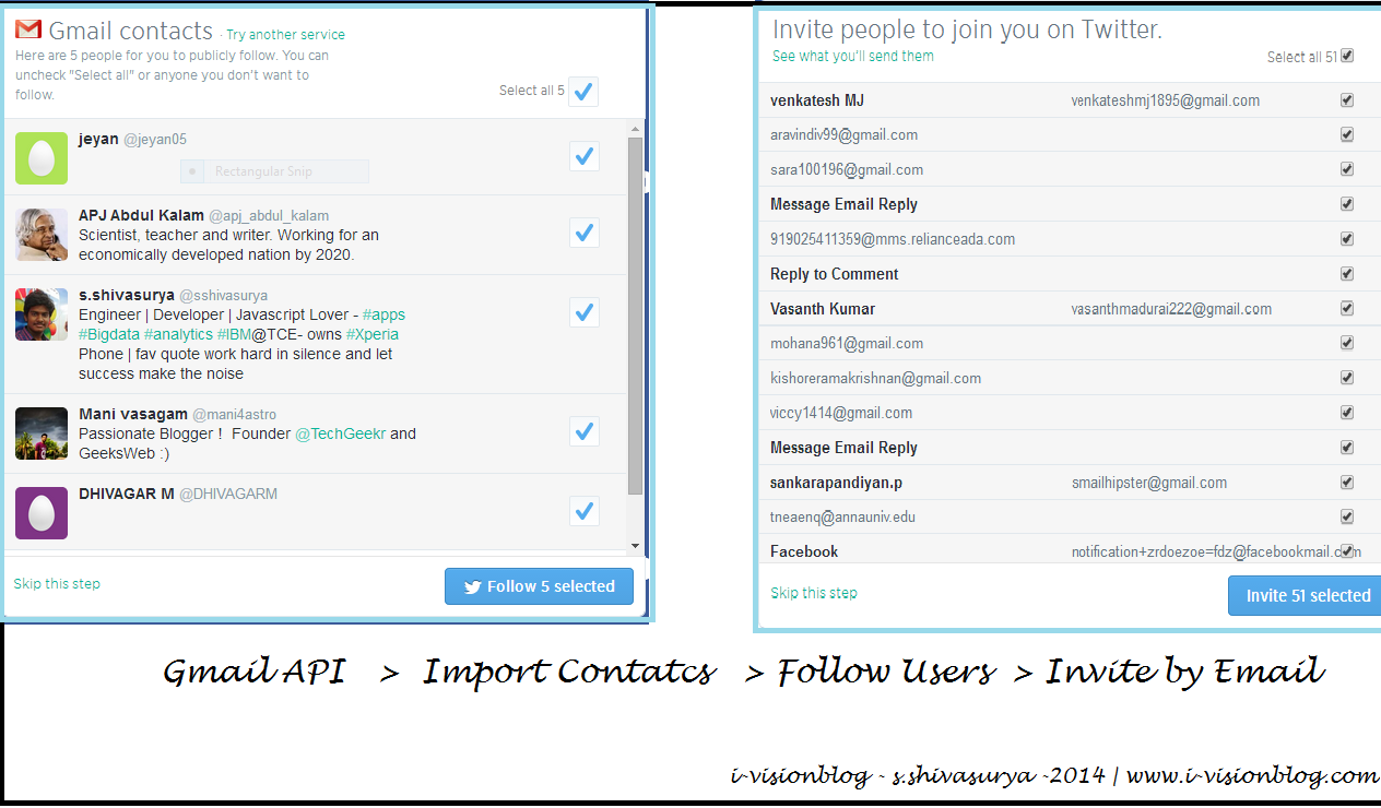 Import Contacts and Invite New Contacts By Email From Gmail Contacts API - Inspired By Linkedin,Twitter Importer
