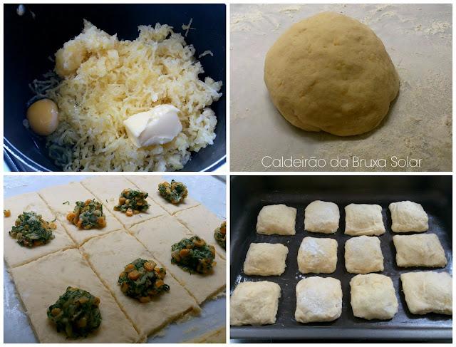 Travesseirinhos de mandioca, milho verde, couve e queijo