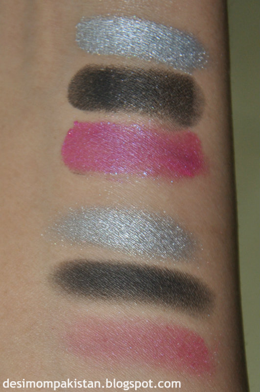 WET n WILD COLOR ICON EYE SHADOW TRIO IN SPOILED BRAT swatches,with and without primer