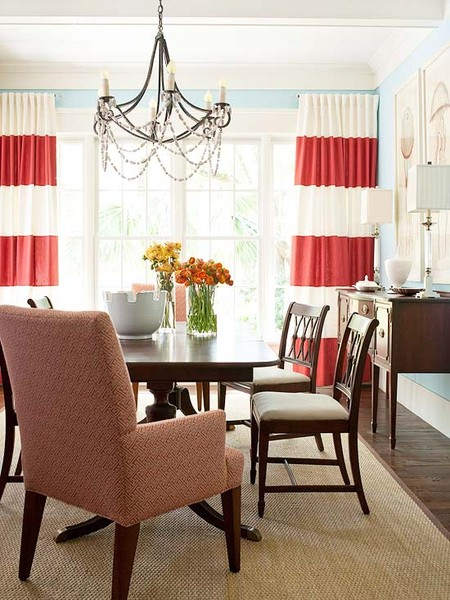 Red Curtains coral colored curtains : beyond the aisle: summer/fall color: coral and peach in home decor