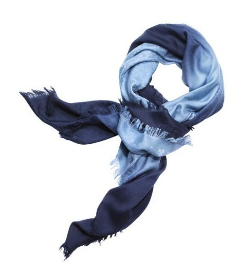 Tory Burch logo dip dye blue scarf light blue dark blue